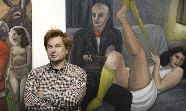 """Vor meinen Bildern bei der Ausstellungseröffnung """"Kunst verbindet Menschen, Ausstellungsreihe 2013)  im hit-Technopark Harburg, Oktober 2012"""