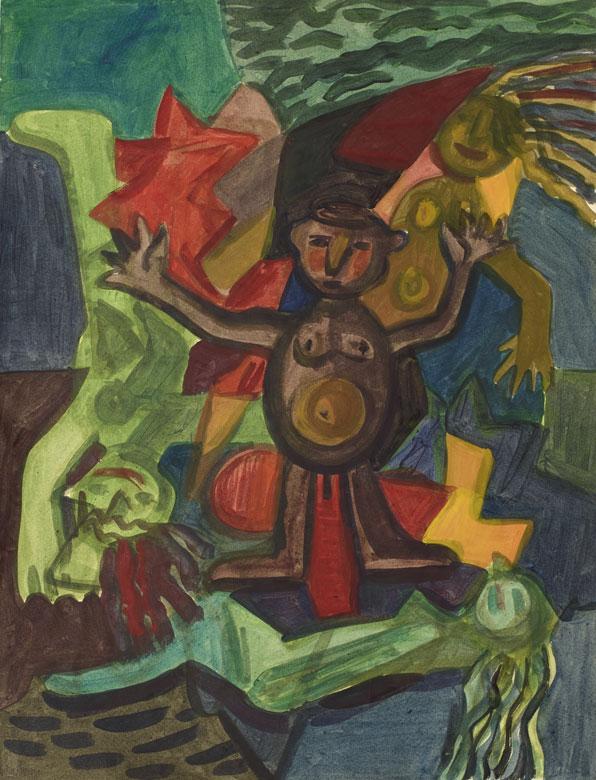 Drei Frauen und ein Mann, A2 Format, Aquarell auf Papier, 1993