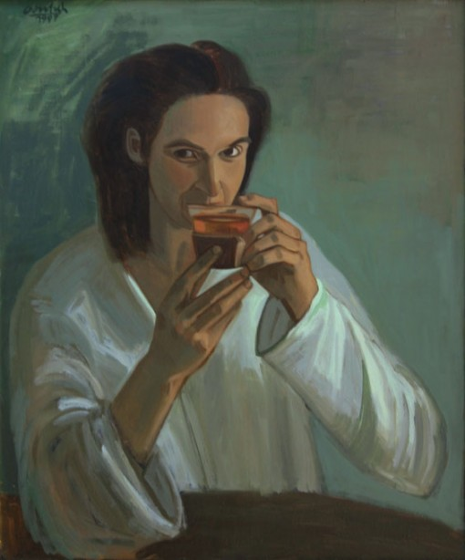 Jacquelin mit Teeglas, 90 x 70 cm, 1995